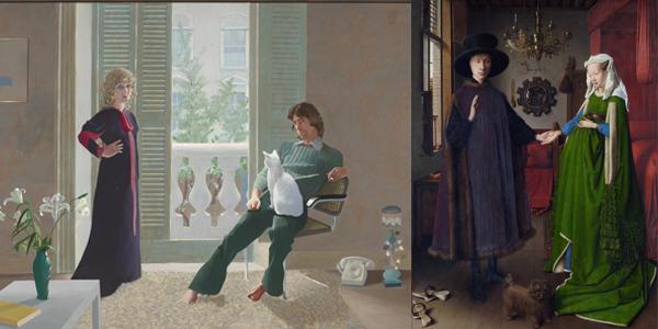 Left: David Hockney, 'Mr and Mrs Clark and Percy', 1971. Right: Jan van Eyck, 'Arnolfini Portrait', 1434