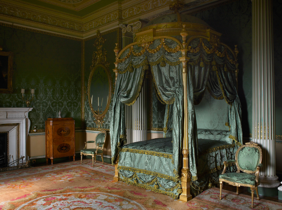 Thomas Chippendale's 'The State Bed', 1773, for the State Bedroom at Harewood House. Costing £400 for the frame, furnishings and mattresses, the bed was the most expensive piece of furniture ever created by the Chippendale firm. Photo: Paul Barker via Harewood House Trust