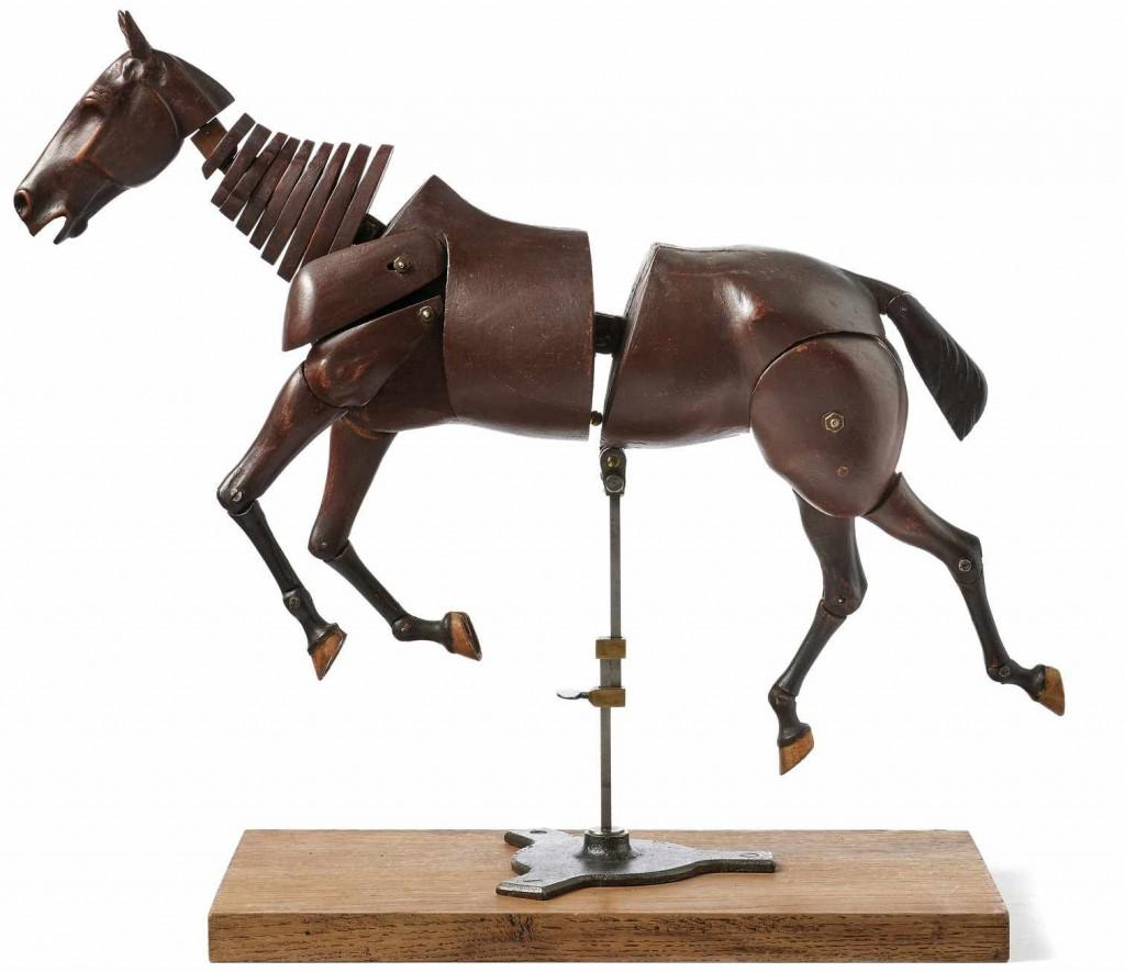 Akademiefigur eines Pferdes mit beweglichen Gelenken, Mahagoni, wohl Paris um 1900 Schätzpreis: 6.000 EUR