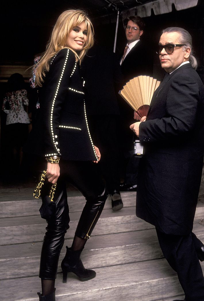 Supermodel Claudia Schiffer and Karl Lagerfeld in the 1990s
