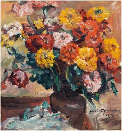 LOVIS CORINTH (Tapiau 1858 - 1925 Zandvoort) - Zinnien, Öl/Lwd., 70 x 65,5 cm, signiert und datiert, 1924 Schätzpreis: 350.000-500.000 CHF (324.070-462.960 EUR)