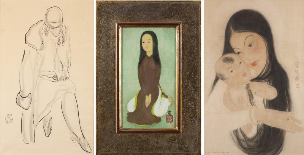 À gauche: Sanyu (1901-1966), Jeune femme. Encre sur papier, 42.5 x 25.5 cm Au centre: Mai Trung Thu (1906-1980). Jeune fille agenouillée, Encre et couleurs sur soie, 25.6 x 13.5 cm À droite: Le Van De (1906-1966), Maternité, 1938. Encre et couleurs sur soie, 56 cm x 37.5 cm
