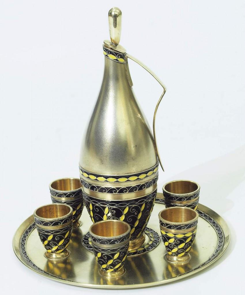 Wodka-Trinkset, 8 Teile, Leningrad/Sowjetunion nach 1958
