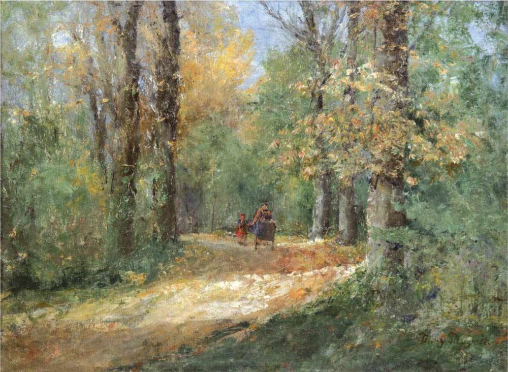 Franz Pflugrath (1861 Peenwerder/Demmin-1946 Zingst), Spaziergänger im Wald, Öl/Lwd., signiert