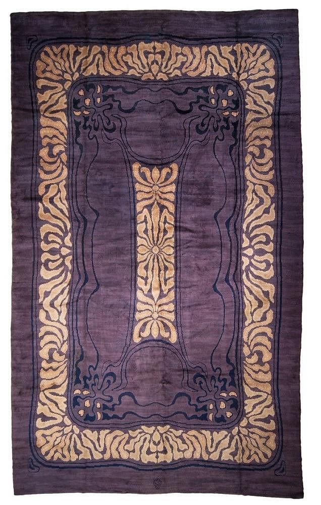 A large, woolen Jugendstil carpet designed by Otto Eckmann