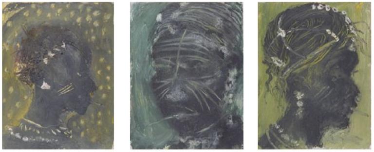 De gauche à droite « Fala muso 2 » ( 1991, technique mixte sur toile), « Tchii 2 » (1991, technique mixte sur toile), « Tchii 7 » (1991, technique mixte sur toile)