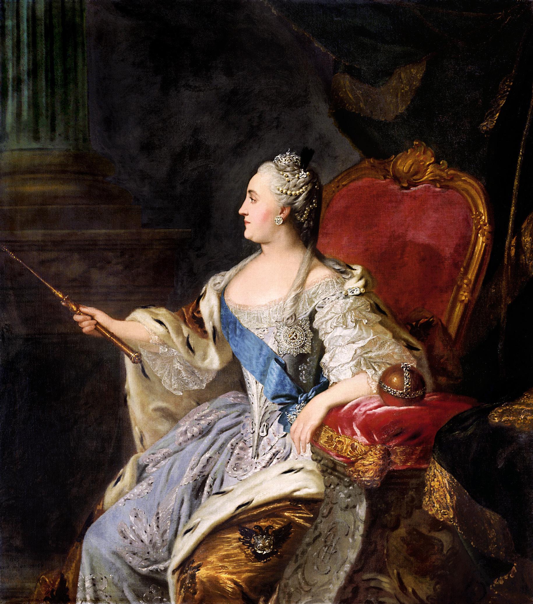 Portrait de Catherine II par Fiodor Rokotov (1763), image via Radio-Canada