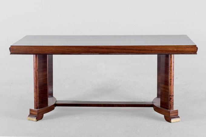 Mesa de comedor Art Decó estilo JULES LELEU en palosanto, nogal y bronce. Francia (años 30)