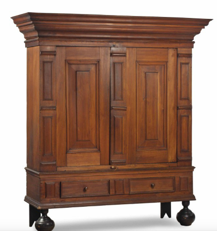 An American William and Mary Gum Wood Kas cabinet. Sold at Christie's in April 2015 for $15 000 against an estimate of $1 000-1 500.