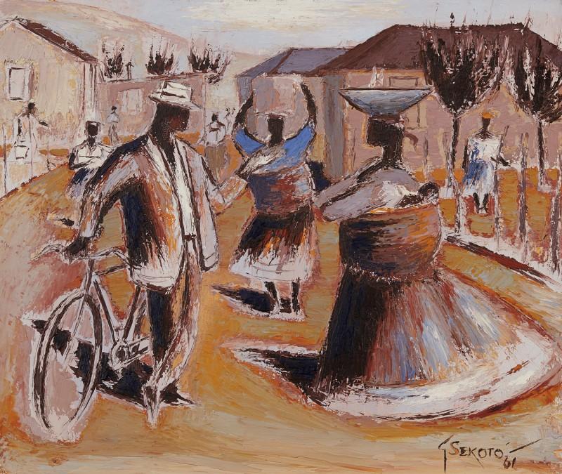 "Gerard Sekoto, ""Bustling street Scene""."