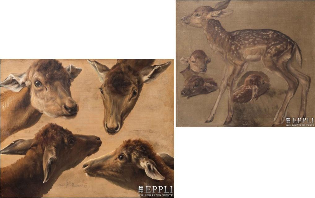 Links: JOHANNES CHRISTIAN DEIKER - Vier Damwildköpfe, Öl/Karton, bezeichnet und datiert, 1852 Rechts: JOHANNES CHRISTIAN DEIKER - Rehkitz, Öl/Lwd., monogrammiert