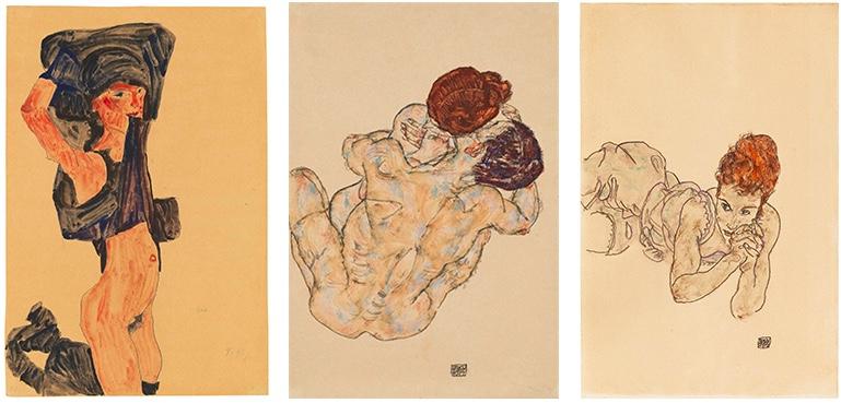 Links: Egon Schiele, Kniendes Mädchen, sich den Rock über den Kopf ziehend, 1910 | Abb.: Christie's Mitte: Egon Schiele, Mann und Frau (Umarmung), 1917 | Abb.: Christie's Rechts: Egon Schiele, Liegende Frau, 1917 | Abb.: Dorotheum
