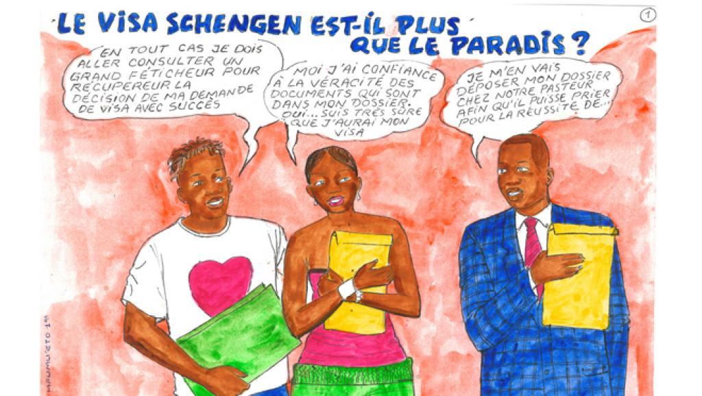 Le Visa Schengen est-il plus que le paradis », planche de Papa Mfumu'eto Ier  Créée en juillet 2015 à l'occasion de l'exposition «Beauté Congo» Image via rfi.fr