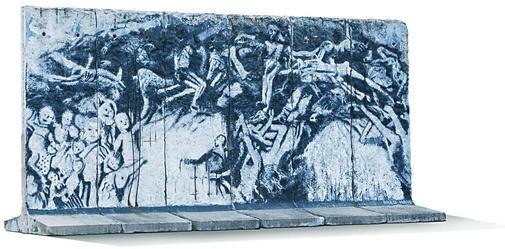 Das von Fred Hahn gestaltete Stück Berliner Mauer, das 2014 keinen Käufer fand. Foto: Auctionata via ln-online.de