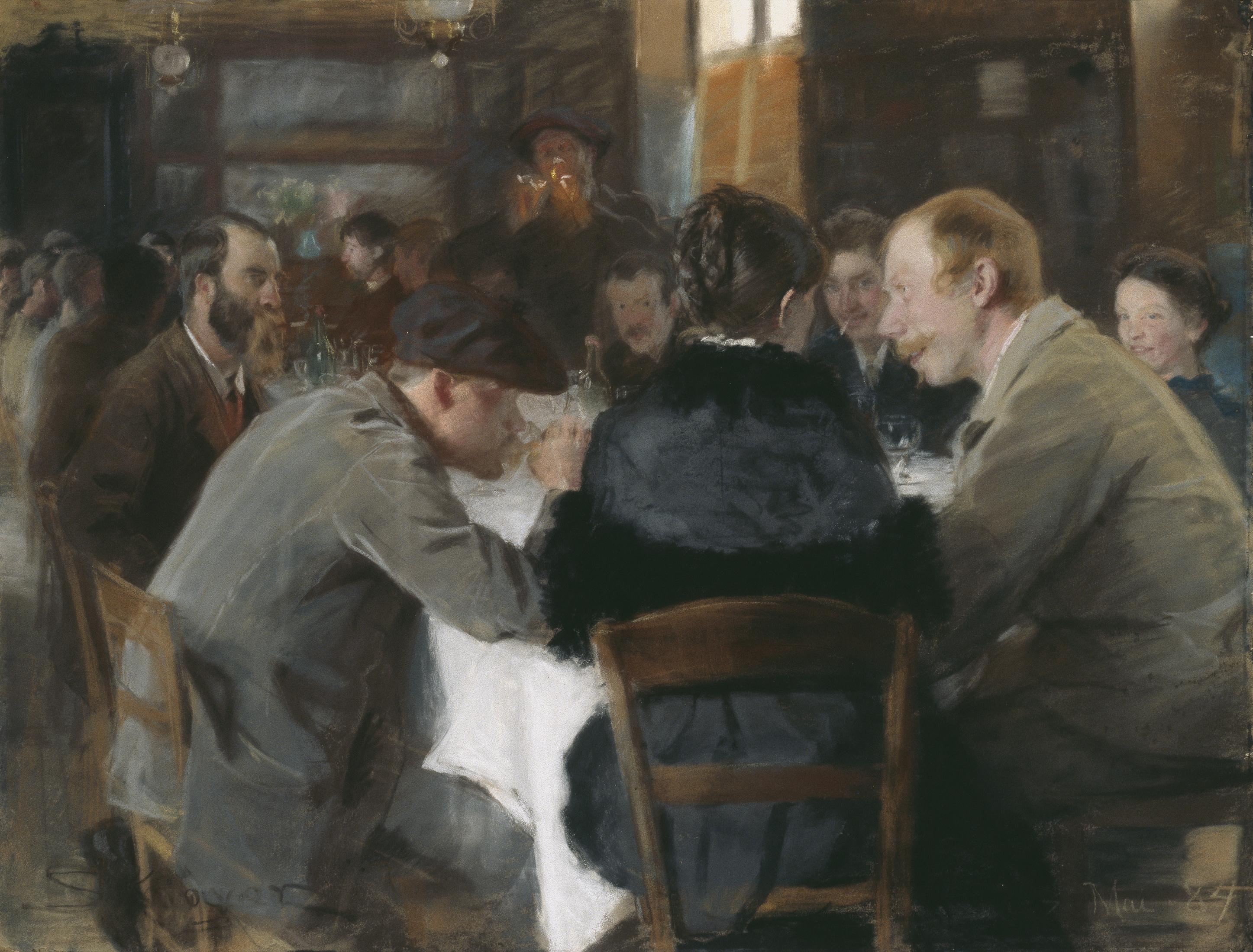 Peder Severin Krøyer, Konstnärsfrukost, 1884. Pastell på papper. Foto: Prins Eugens Waldemarsudde.