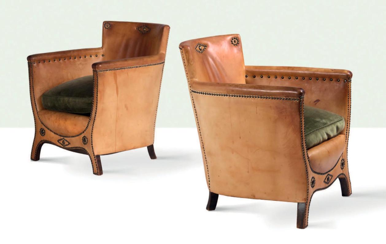OTTO SCHULZ - Paar Sessel mit Lederbezug, Boet, ca. 1935