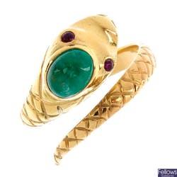祖母綠及紅寶石蛇形戒指, 翡翠重 0.96c