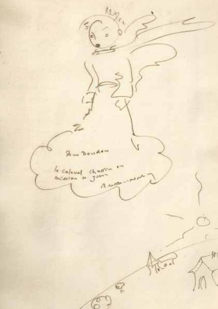 Antoine de Saint Exupéry, dessin original pour Doudou Chassin