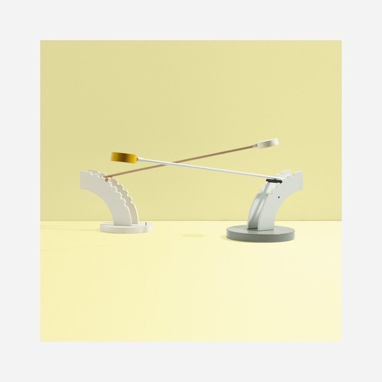LAWRENCE LASKE. Sbarra lamp and model, 1987. Estimated at $2,000–$3,000. Wright