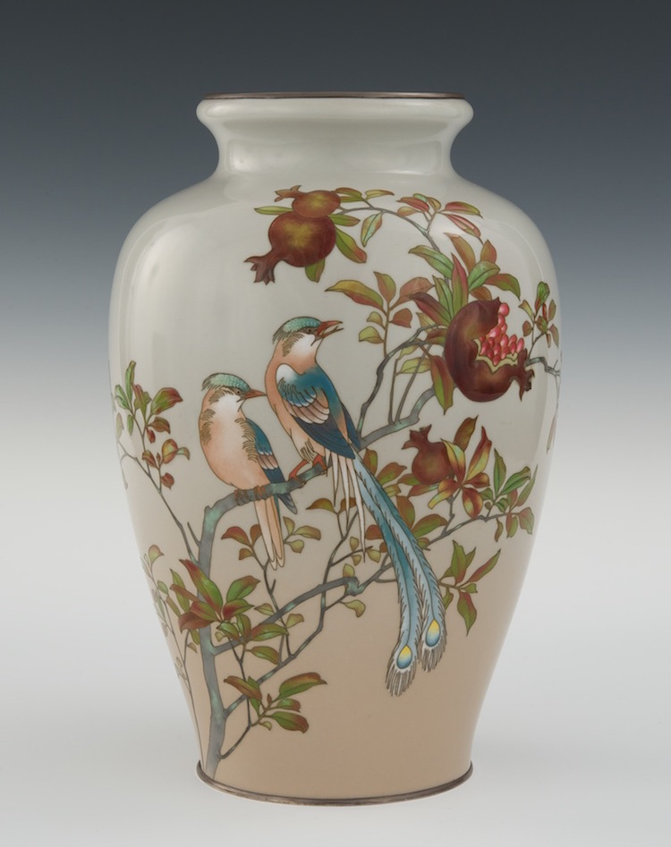 A Cloisonne & Moriage Vase with Mark of Ando Jubei, Meiji Period. Estimate $5,000 - $7,000. Photo via Aspire Auctions