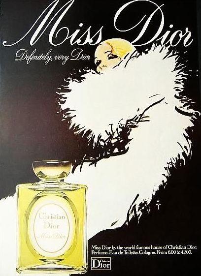 Publicité de 1955 pour Miss Dior, design par René Gruau