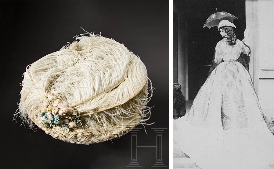 Gauche : chapeau d'été à plumes d'autruche blanches ayant appartenu à l'impératrice Elisabeth d'Autriche, image © Hermann Historica | Droite : Photographie de l'impératrice Elisabeth, vers 1865, image via Wikimedia Commons