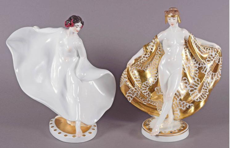 """MEISSEN - """" Jugendstilfiguren, """"Tänzerin Loie Fuller"""" und """"Tänzerin"""", H: ca. 26,5 bzw. 28 cm, Entwurf Theodor Eichler 1911, Ausführung um 1915 Startpreis: 10.000 EUR"""