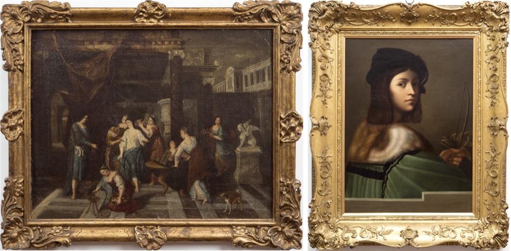 Links: Altmeister - Bad der Venus, Öl/Lwd., 47x60 cm, 18. Jh. Limitpreis: 2.900 EUR Rechts: Venezianische Schule - Jungenbildnis mit Hermelinkragen, Öl/Lwd., 65x50 cm, 18. Jh. Limitpreis: 4.500 EUR