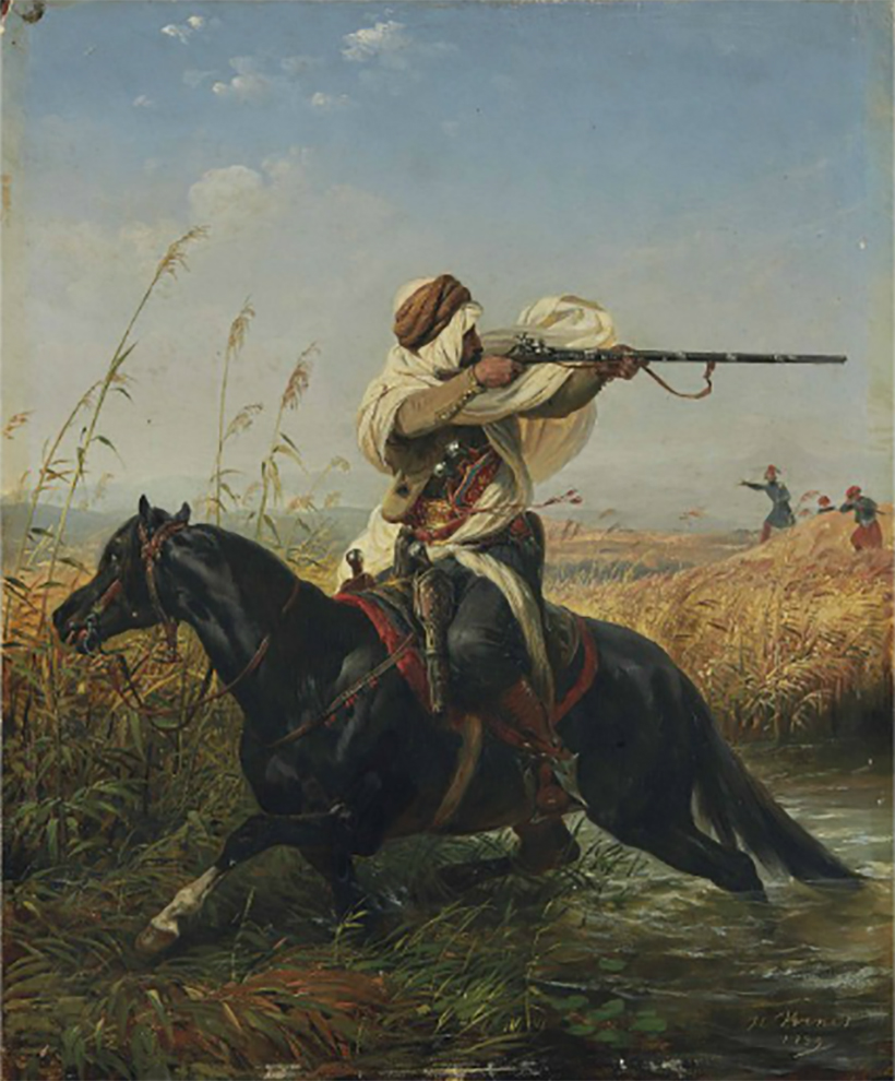 """Horace Vernet, Cavalier arabe, dit aussi """"La Retraite"""""""