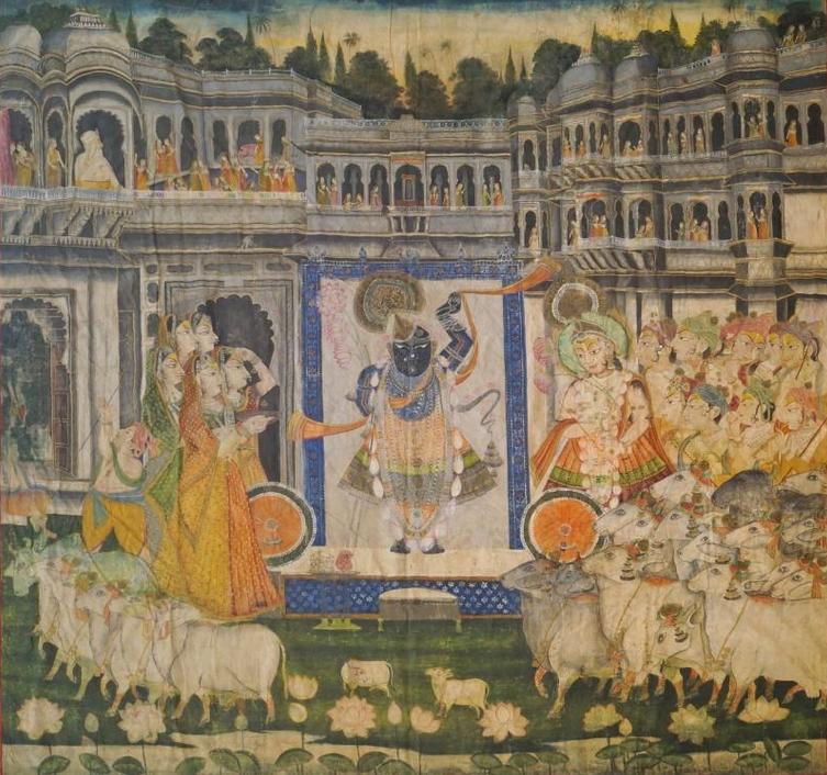 Peinture Indienne sur lin du Rajasthan style Pichwai 19e Siècle  En vente chez Roseberys