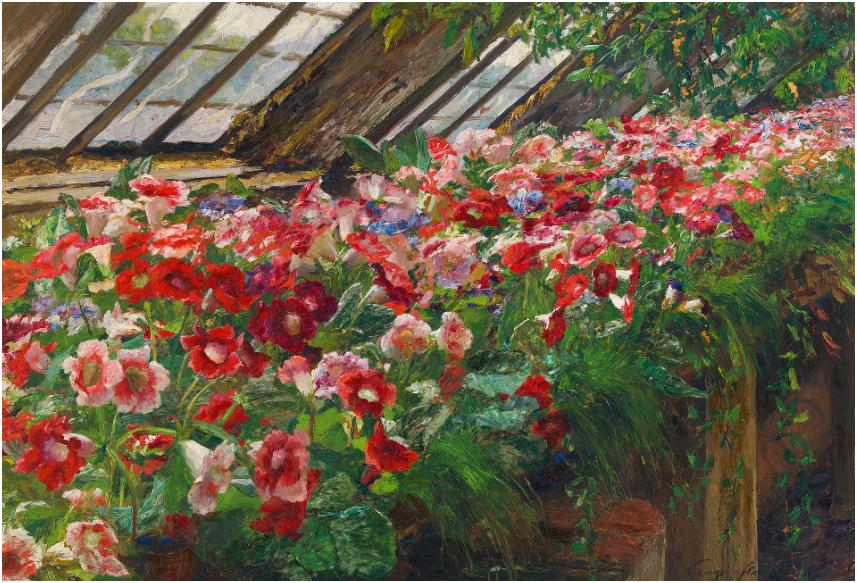 OLGA WISINGER-FLORIAN (Wien 1844-1926 Wien) - Gloxinien im Glashaus, Öl/Karton, 72 × 101 cm, signiert Schätzpreis: 150.000-300.000 EUR