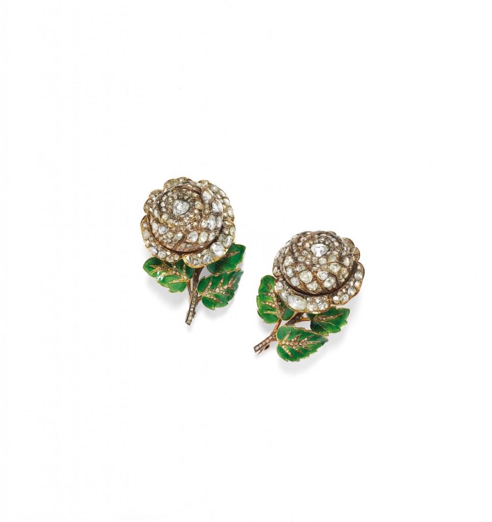Paar Broschen aus Gold und Silber mit Emaille und Diamanten, ca. 1860 Schätzpreis: 15.000-25.000 EUR