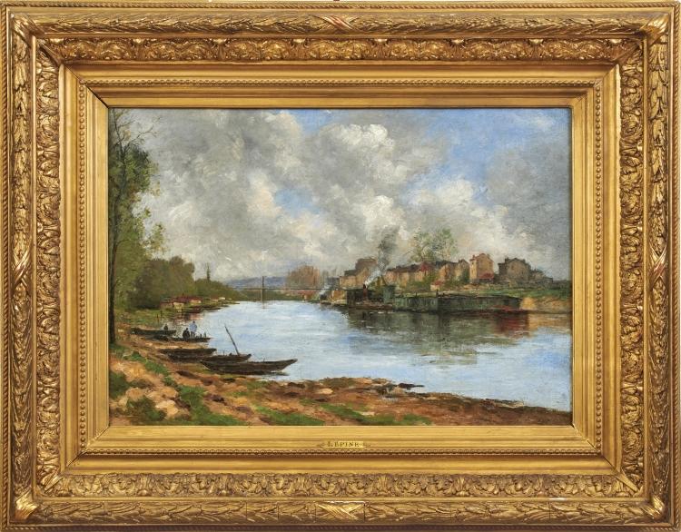 STANISLAS VICTOR EDOUARD LÉPINE (1835 Caen - 1892 Paris) - An den Ufern der Seine, Öl/Lwd., signiert