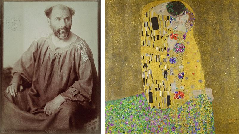 Links: Anton Josef Trčka, Portraitfotografie von Gustav Klimt, 1914 Rechts: Gustav Klimt, Der Kuss, 1907/08 | Beide Abbildungen: Wikipedia
