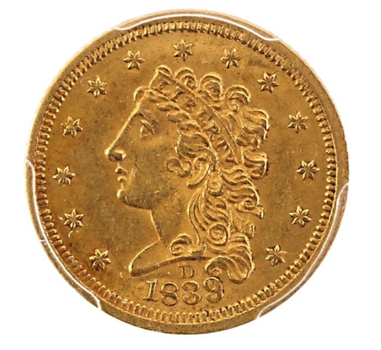U.S. 1839-D GOLD $2.50 COIN. Low estimate 20 000 USD.