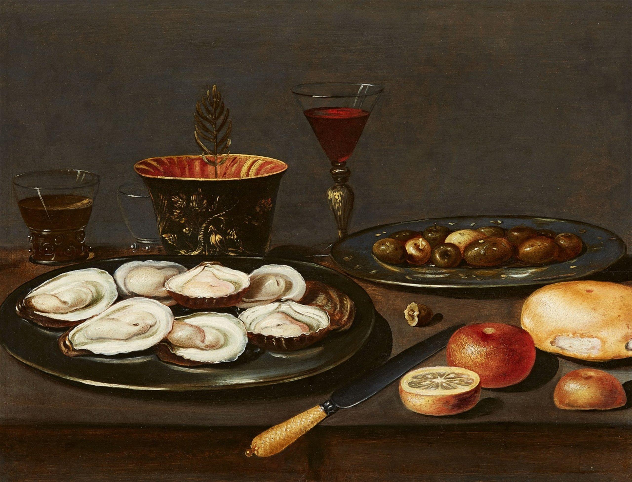 Jacob van Es (Anvers 1596 - 1666), Nature morte aux huîtres et aux olives - Lempertz. Estimation: 2500€ - 3500€