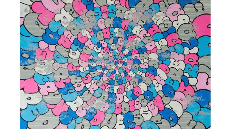 TILT Français - Né en 1973  ONE DAY PINK BLUE- 2011  Acrylique sur toile  Signée, titrée et datée au dos
