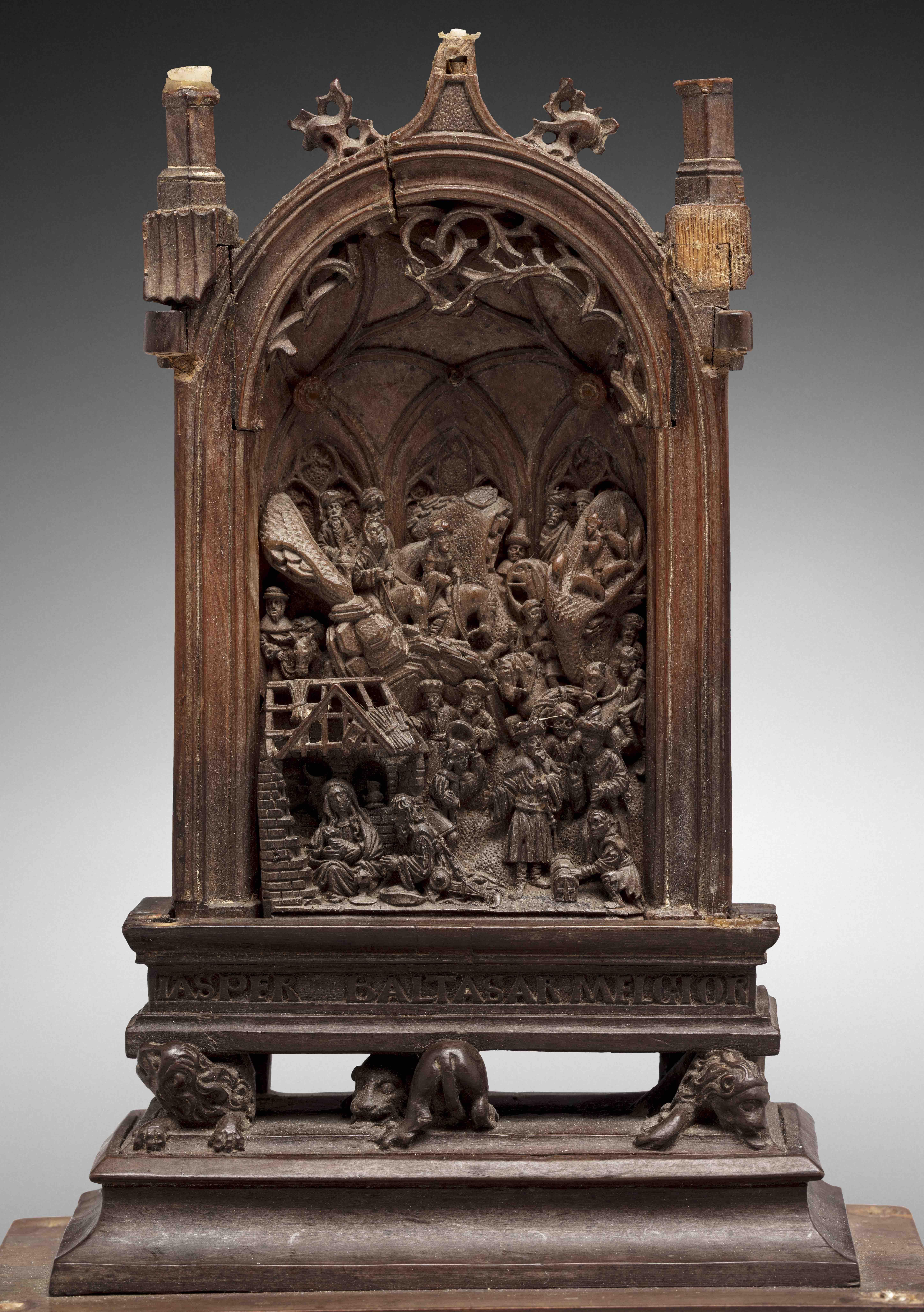 Partie centrale d'un triptyque sculpté, image ©Rossini