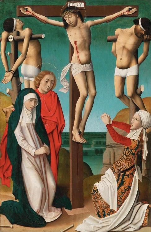 Hispano-flämische Schule - Christus am Kreuz, Öl/Holz, um 1500
