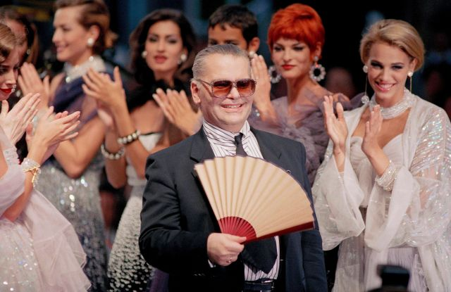 Karl Lagerfeld at his 1991 Chanel Show. Image: Remy De La Mauviniere/AP/REX/Shutterstock