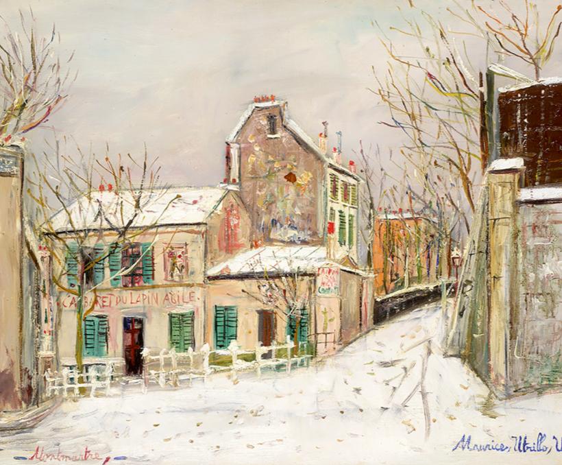 Maurice Utrillo, Montmartre, le Lapin Agile sous la neige, circa 1930 Estimation: 70 000 - 90 000 euros