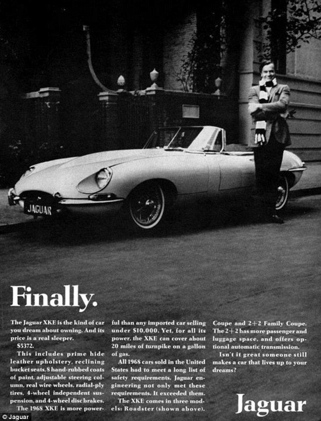 An advertisement for the Jaguar E-type model, first released in 1968