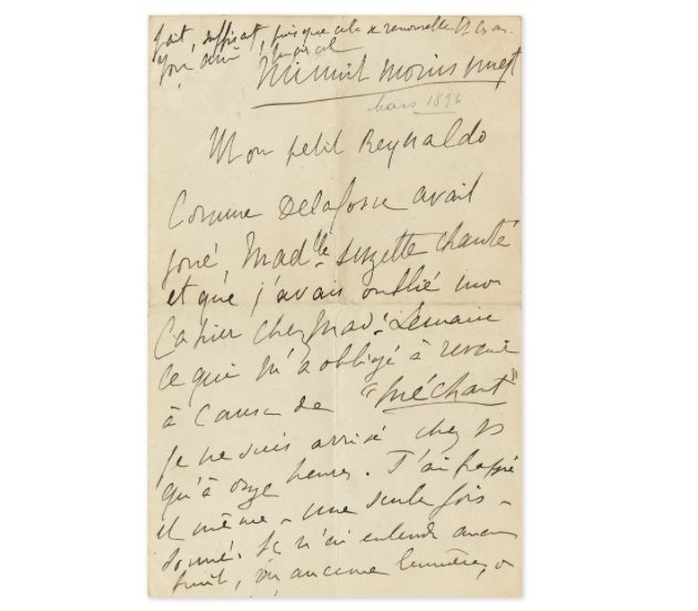 Proust, lettre signée à Reynaldo Hahn, fin mars 1896, image ©Sotheby's