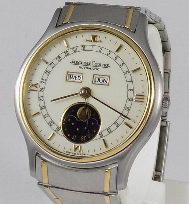 JAEGER LECOULTRE. Reloj modelo Albatros Triple Date Moonphase en acero inoxidable y oro amarillo (c. 1990)