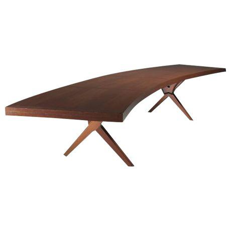 L.E Brevilly large boomerang-shaped desk, France, circa 1965Decaso