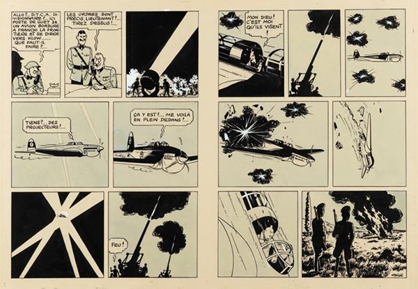 Hergé , Tintin, King Ottokar's Sceptre (1939). Image via Sotheby's Paris
