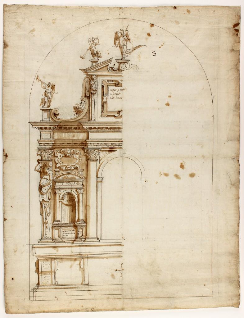 Anonym - Entwurf eines Möbelstücks oder einer sakralen Dekoration, braune Tinte und Wasserfarbe, 540x417 cm, Florenz spätes 16. Jh. Preis: 1.000 EUR