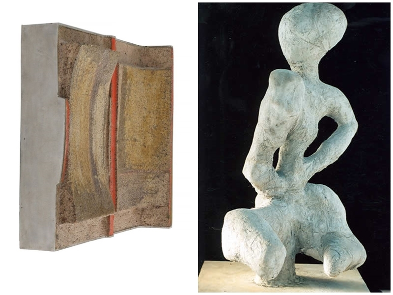 """Left: ARNE L. HANSEN. Wall hanging. Photo via: Bruun Rasmussen. Right: JENIK COOK. """"My ET"""". Sculpture in concrete. Image via: RoGallery Online."""