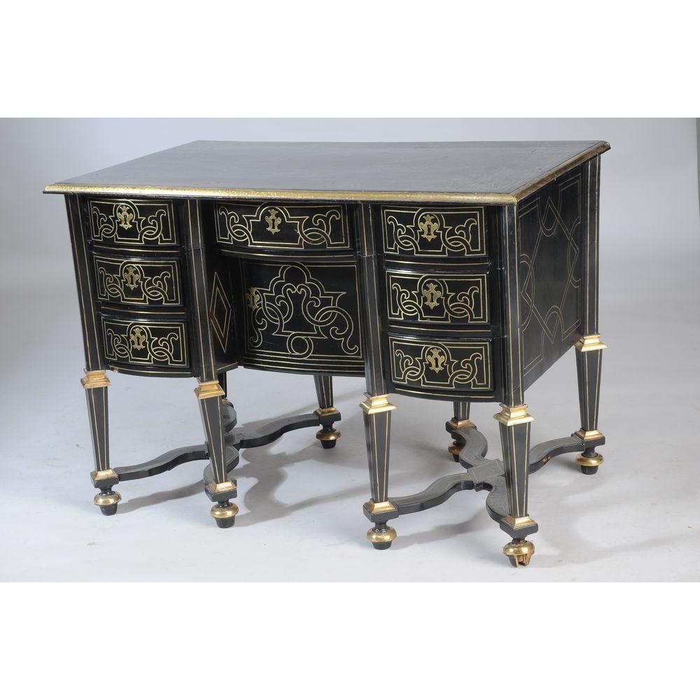 Bureau Mazarin in blackened wood with brass decorationHerbette