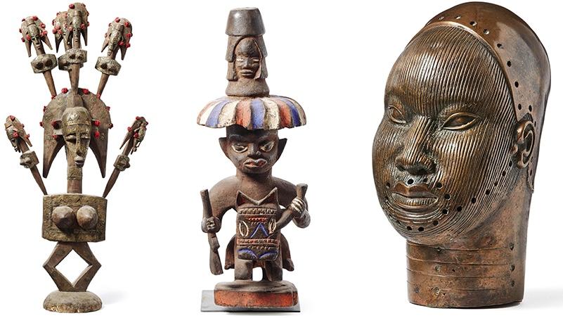 Links: Altarfigur der Dogon, Mali/Westafrika, ca. 40 - 60 Jahre alt Mitte: Ritualfigur eines Schutzreiters zu Ross, Kameruner Grasland, Ethnie der Bamileke, um 1920 Rechts: Kopf eines Oni (Königs)—Nigeria, Ife, Ethnie der Yoruba